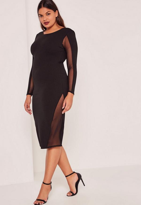 Plus Size Black Mesh Panels Midi Dress