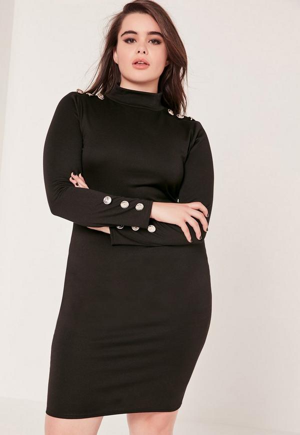Plus Size Long Sleeve Button Dress Black