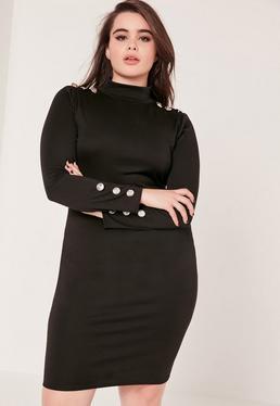 Robe noire manches longues et boutons grande taille