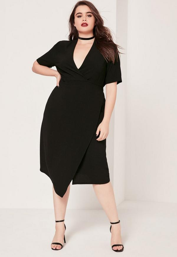 Plus Size Wrap Midi Dress Black