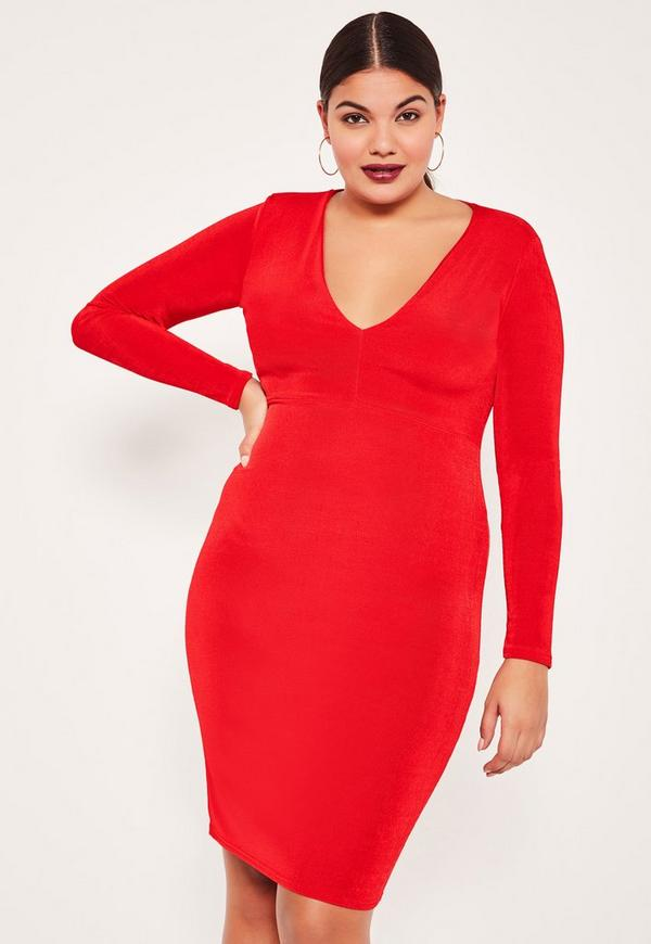 ... Plus Size Red V-Neck Slinky Midi Dress timeless design ae918 c9ead f0fa45371