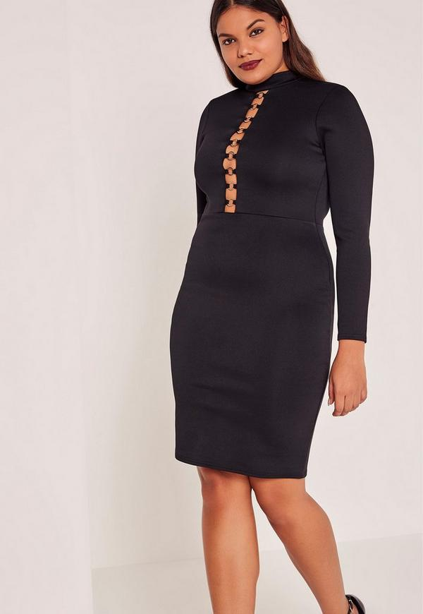 Black Plus Size Chain Detail High Neck Midi Dress