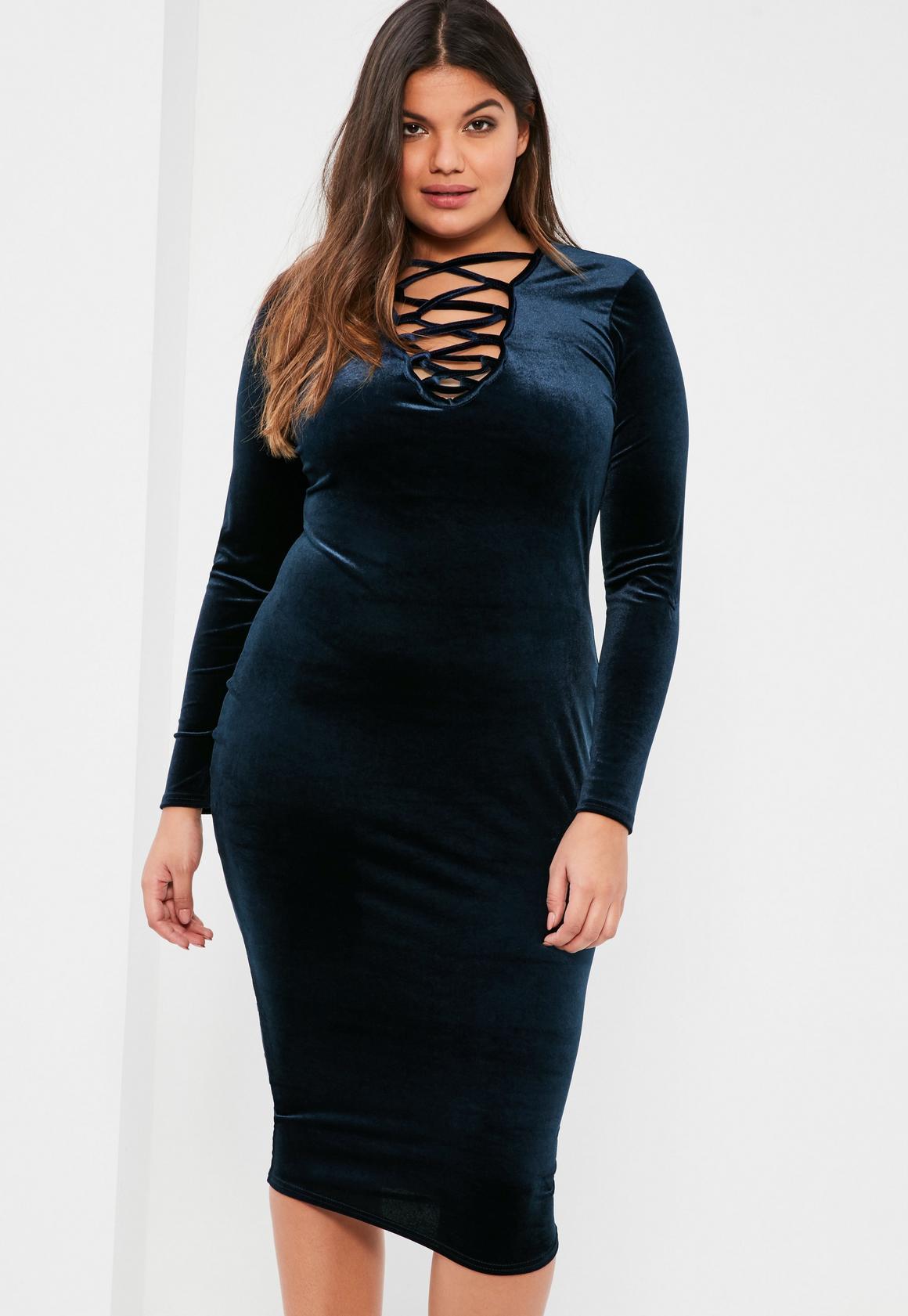 plus size navy lace up velvet bodycon dress | missguided