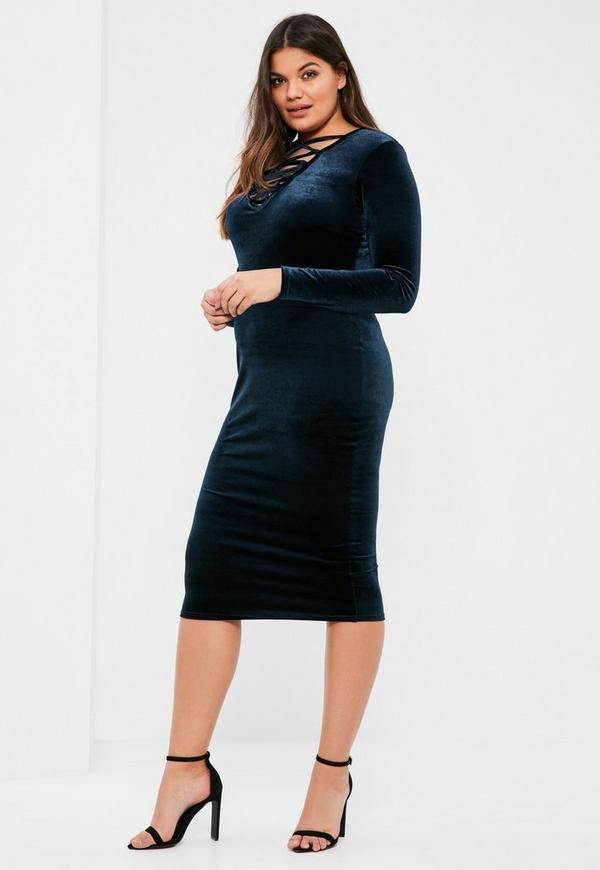 Plus Size Navy Lace Up Velvet Bodycon Dress | Missguided