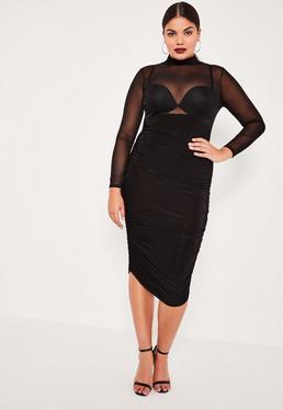 Plus Size Black Mesh Insert Ruched Midi Dress