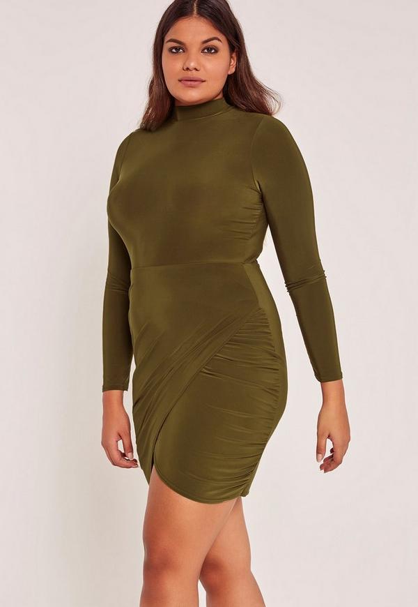 Green Plus Size High Neck Slinky Wrap Mini Dress