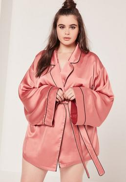 Plus Size Kimono Pipe Detail Silk Robe Pink