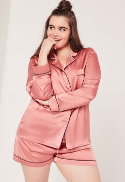 Plus Size Pink Piping Detail Pyjama Set