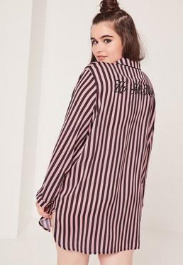 Plus Size Striped Slogan Nightshirt Black