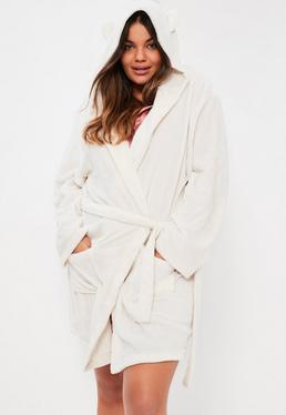 Plus Size Cream Soft Fleece Dressing Gown