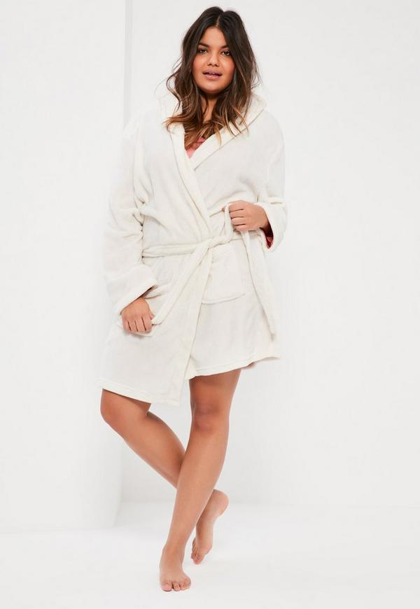 Plus Size Cream Soft Fleece Dressing Gown | Missguided