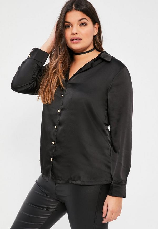 Plus Size Black Satin Blouse