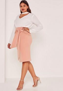Nude Plus Size Tie Waist Midi Skirt