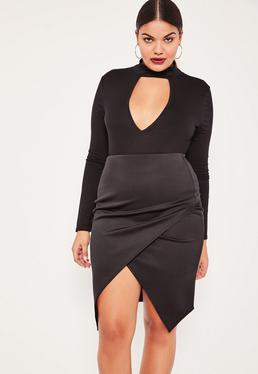 Black Plus Size Asymmetric Midi Skirt