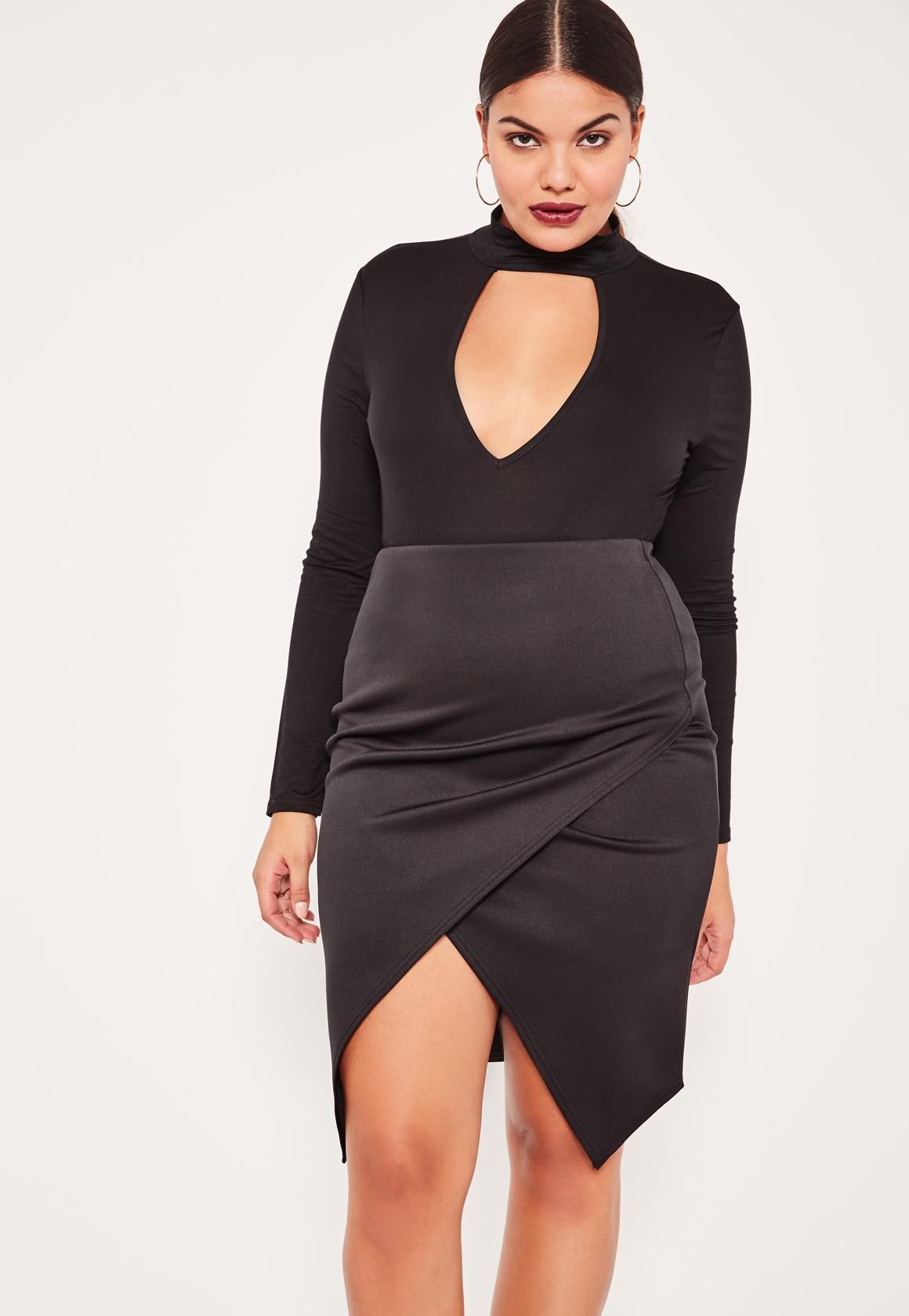 Black Plus Size Asymmetric Midi Skirt - Missguided