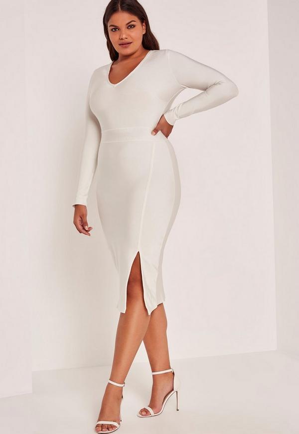 White Plus Size Bandage V-Neck Long Sleeve Bodycon Dress
