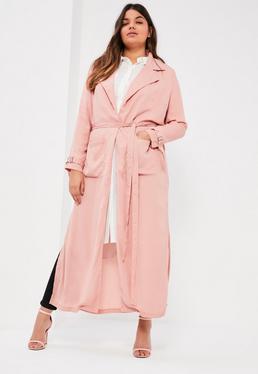 Pardessus grande taille rose en mousseline avec ceinture