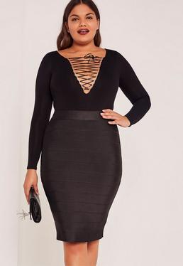 Black Plus Size Bandage Split Midi Skirt