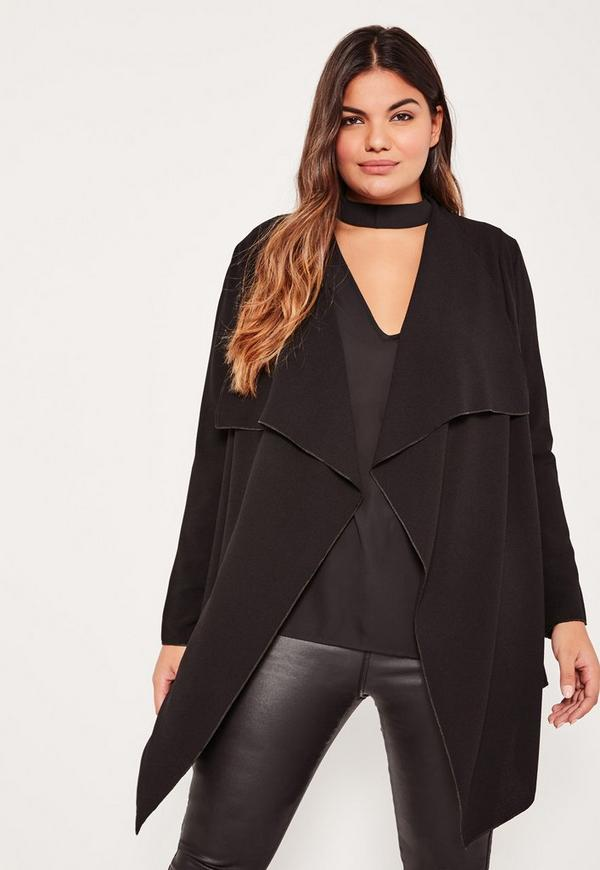 Plus Size Black Waterfall Crepe Jacket