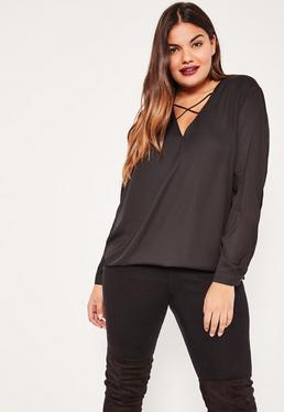Plus Size Black Harness Detail Blouse