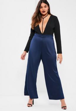 Pantalon grande taille en satin bleu marine