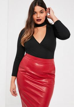 Plus Size Black Ribbed Choker Neck Bodysuit