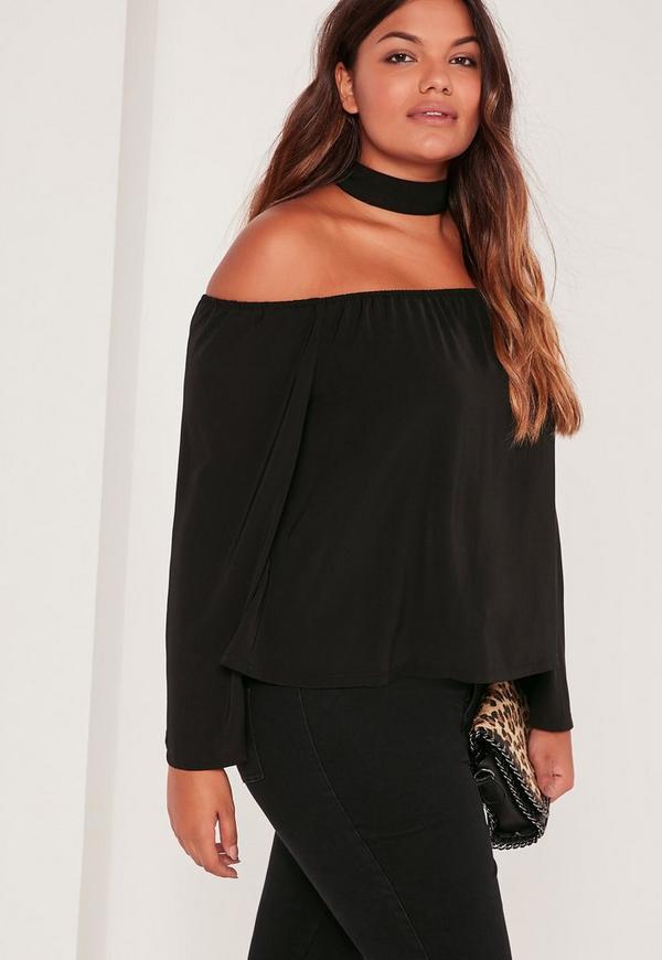 Plus Size Choker neck Bardot Blouse Black