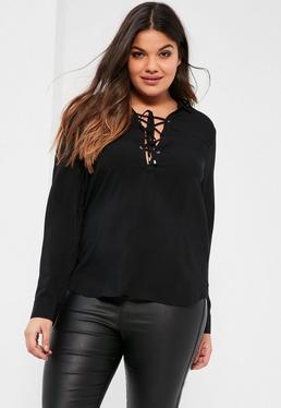 Chemise noire lacée grande taille