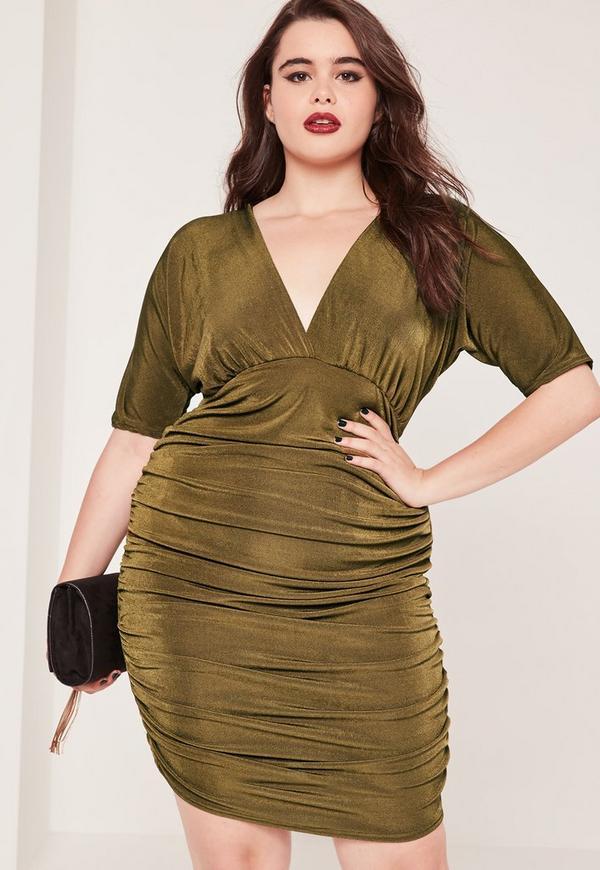 Plus Size Ruched Slinky Midi Dress Khaki