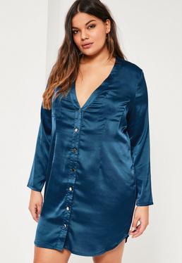 Plus Size Navy Satin Shirt Dress