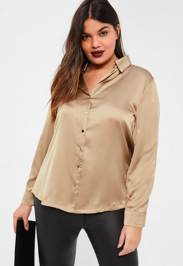 Plus size brown satin blouse missguided for Satin shirt dress plus size