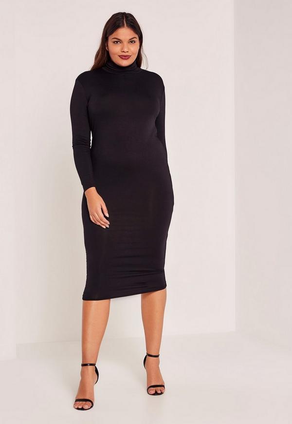 Black Plus Size High Neck Jersey Midi Dress | Missguided