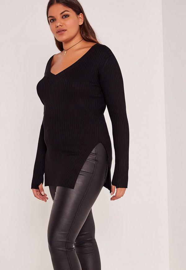 Black Plus Size Knitted V-Neck Tunic