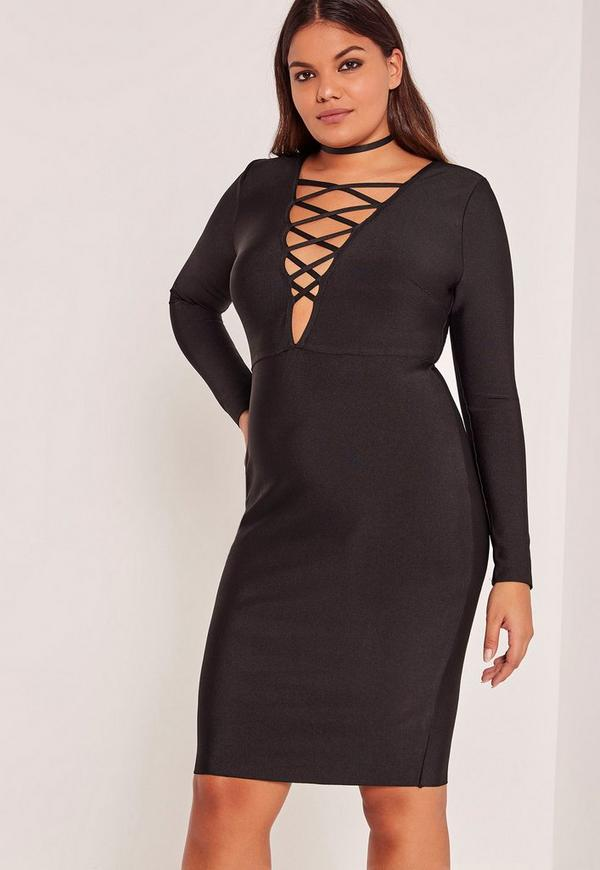 Black Plus Size Lace Up Bandage Midi Dress | Missguided