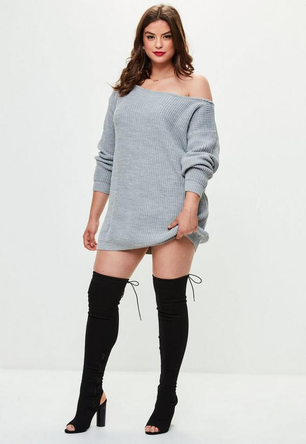 Plus Size Grey Off The Shoulder Sweater Dress Missguided