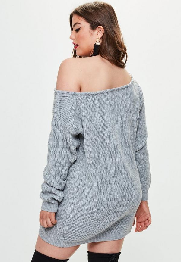 Plus Size Off The Shoulder Jumper Dress Grey | Missguided