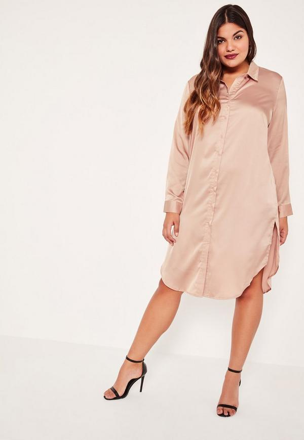 Plus Size Nude Embroidered Back Shirt Dress Missguided