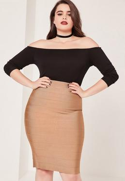 Plus Size Bandage Split Midi Skirt Camel