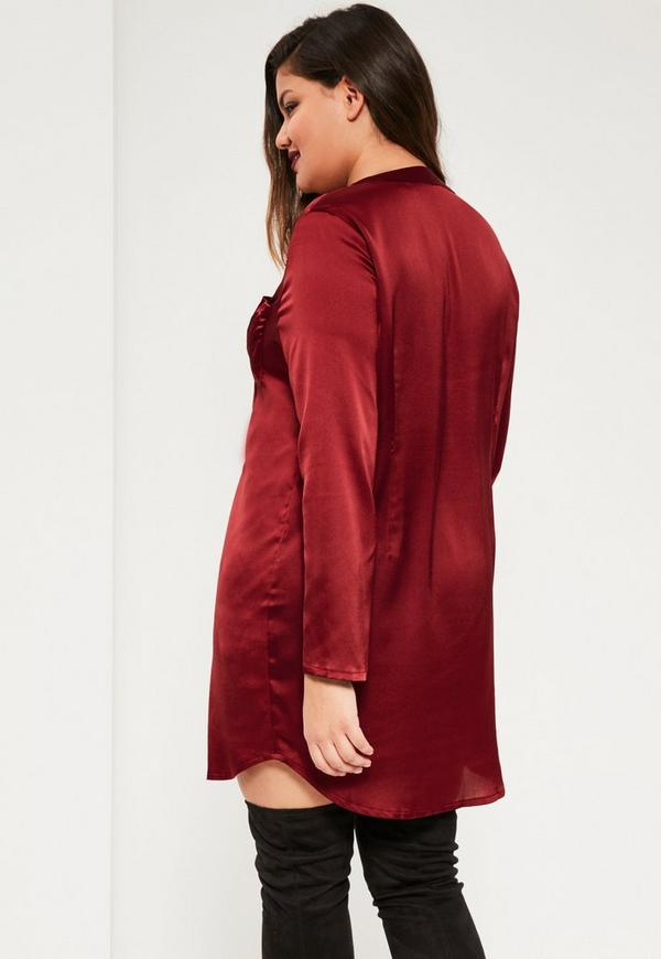 plus size burgundy satin shirt dress missguided
