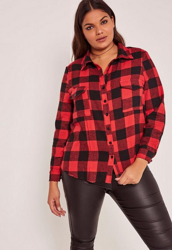 Plus Size Frayed Checked Shirt Red
