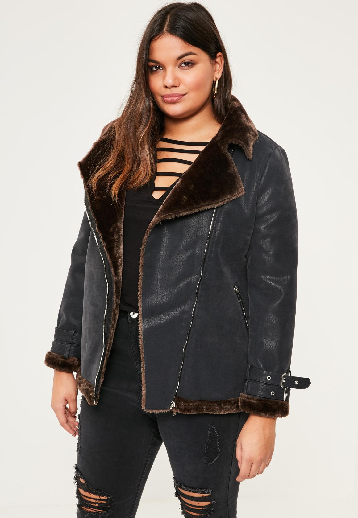 Black Faux Fur Coat With Leather Sleeves - Tradingbasis