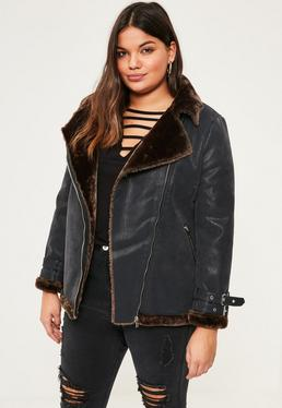 Plus Size Black Contrast Faux Shearling Pilot Jacket