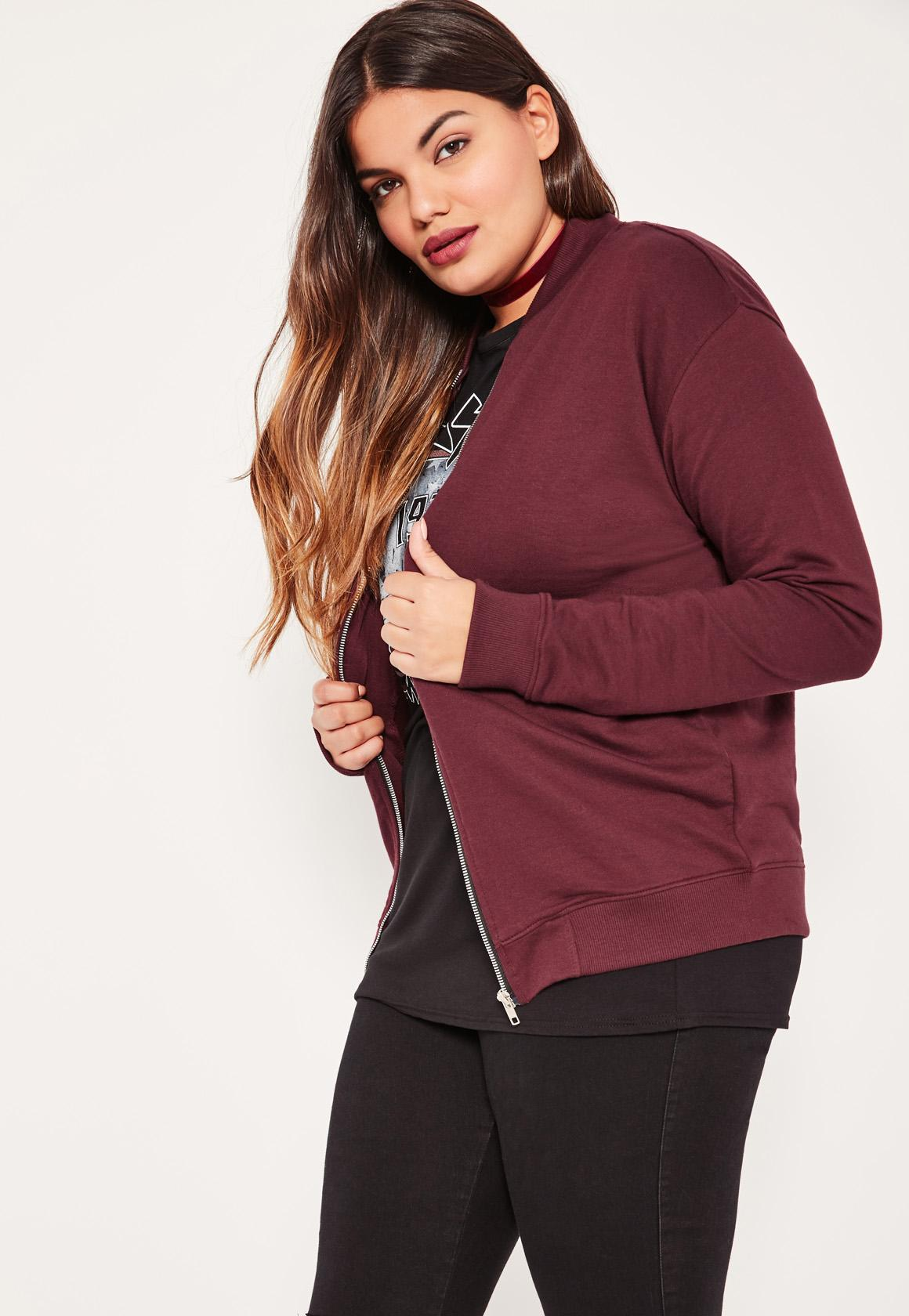 Plus Size Burgundy Jersey Bomber Jacket