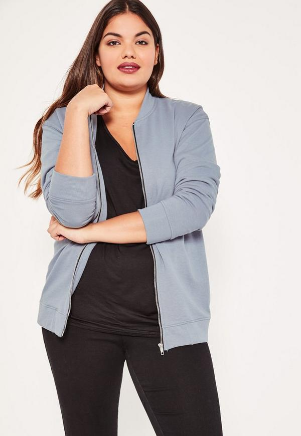 Plus Size Grey Jersey Bomber Jacket