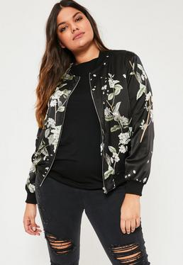 Plus Size Black Floral Print Bomber Jacket