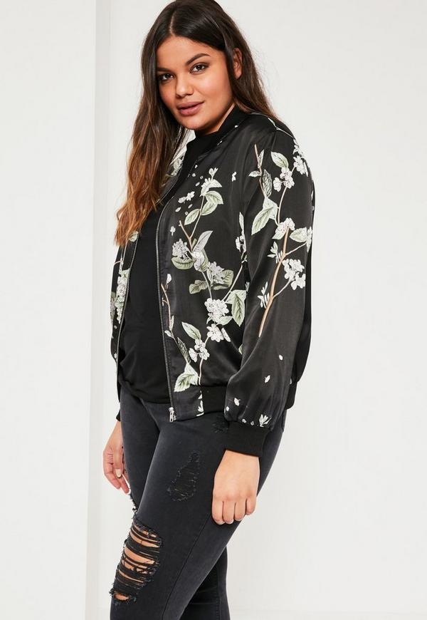 Plus Size Black Floral Print Bomber Jacket | Missguided