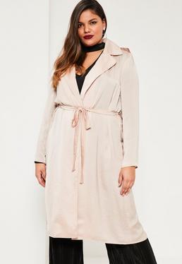 Beżowy satynowy płaszcz Plus Size