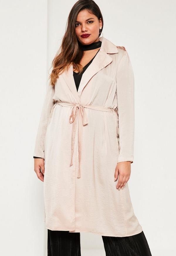 Plus Size Exclusive Nude Satin Duster Jacket