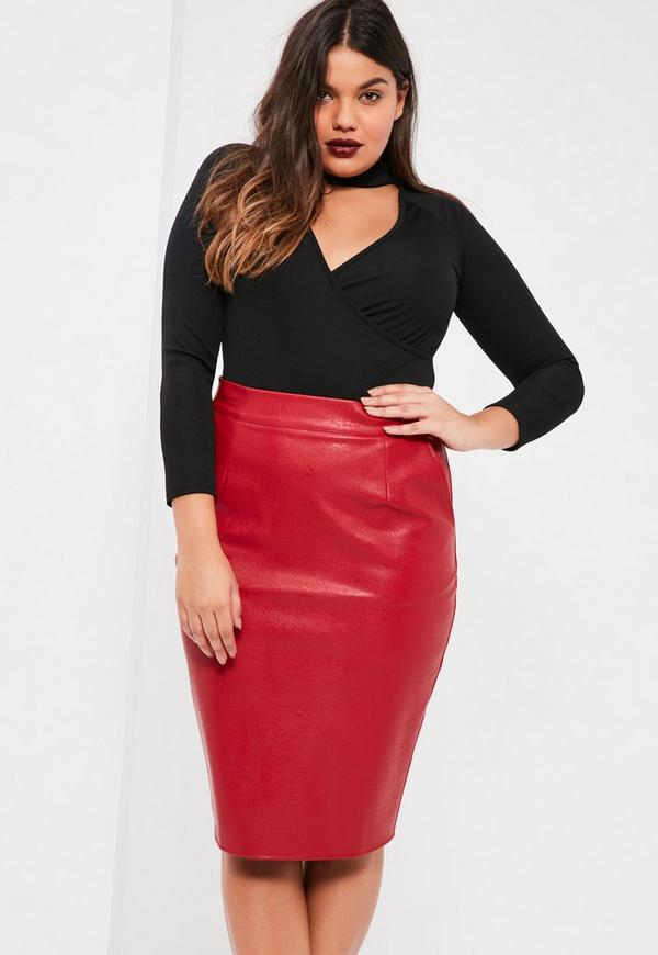 Red faux leather midi skirt – The most popular models skirts