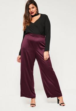 Fioletowe satynowe spodnie z szerokimi nogawkami Plus Size